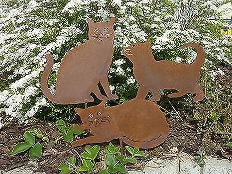SSITG 3 para jardín (Acero Inoxidable gato gatos gatito metal oxidado (Jardín Decoración Nuevo