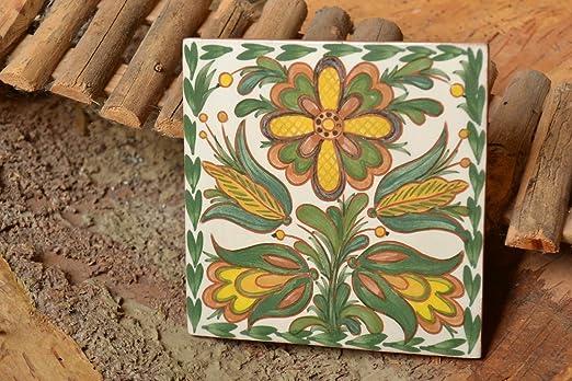 Azulejo Ceramico Decorativo Artesanal Pintado A Mano Para Cocina O