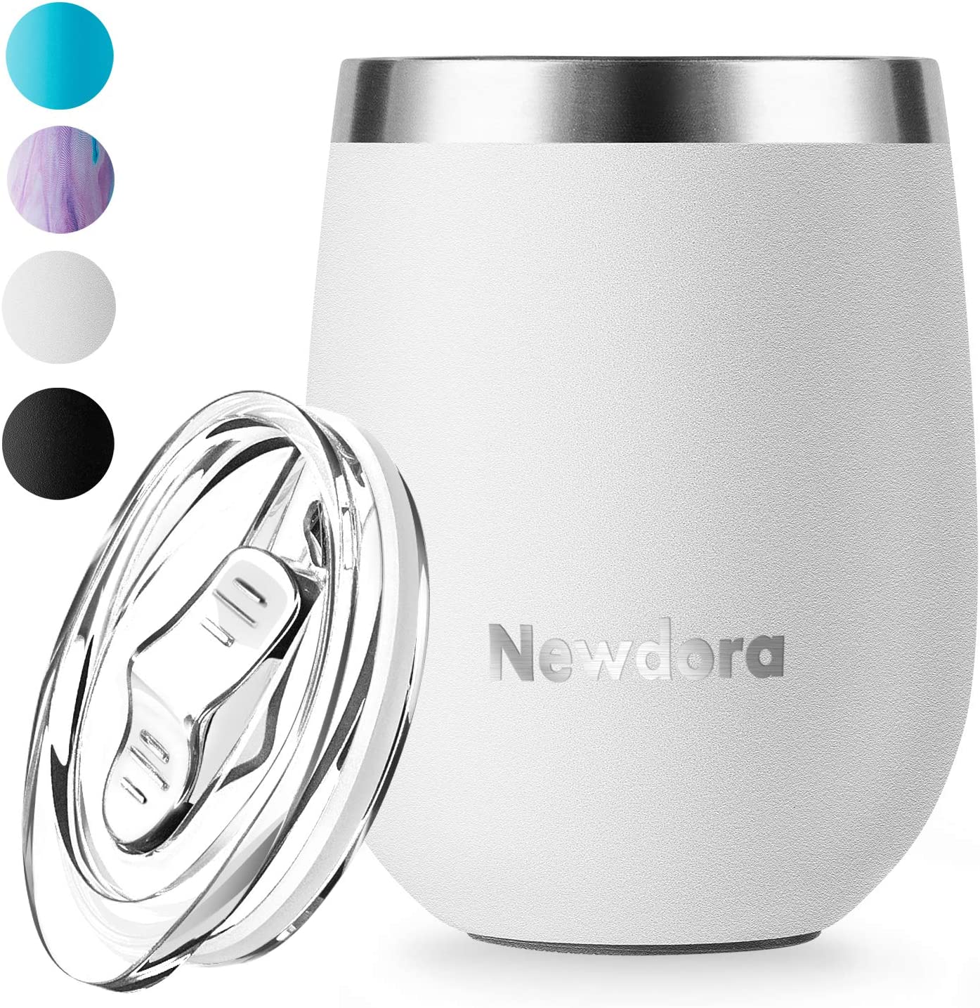 Newdora Wine Tumbler with Lid, Stainless Steel Vacuum Insulated Double Wall Travel Tumbler, Durable Insulated Coffee Mug, Thermal Cup with Splash Proof Sliding Lid, White