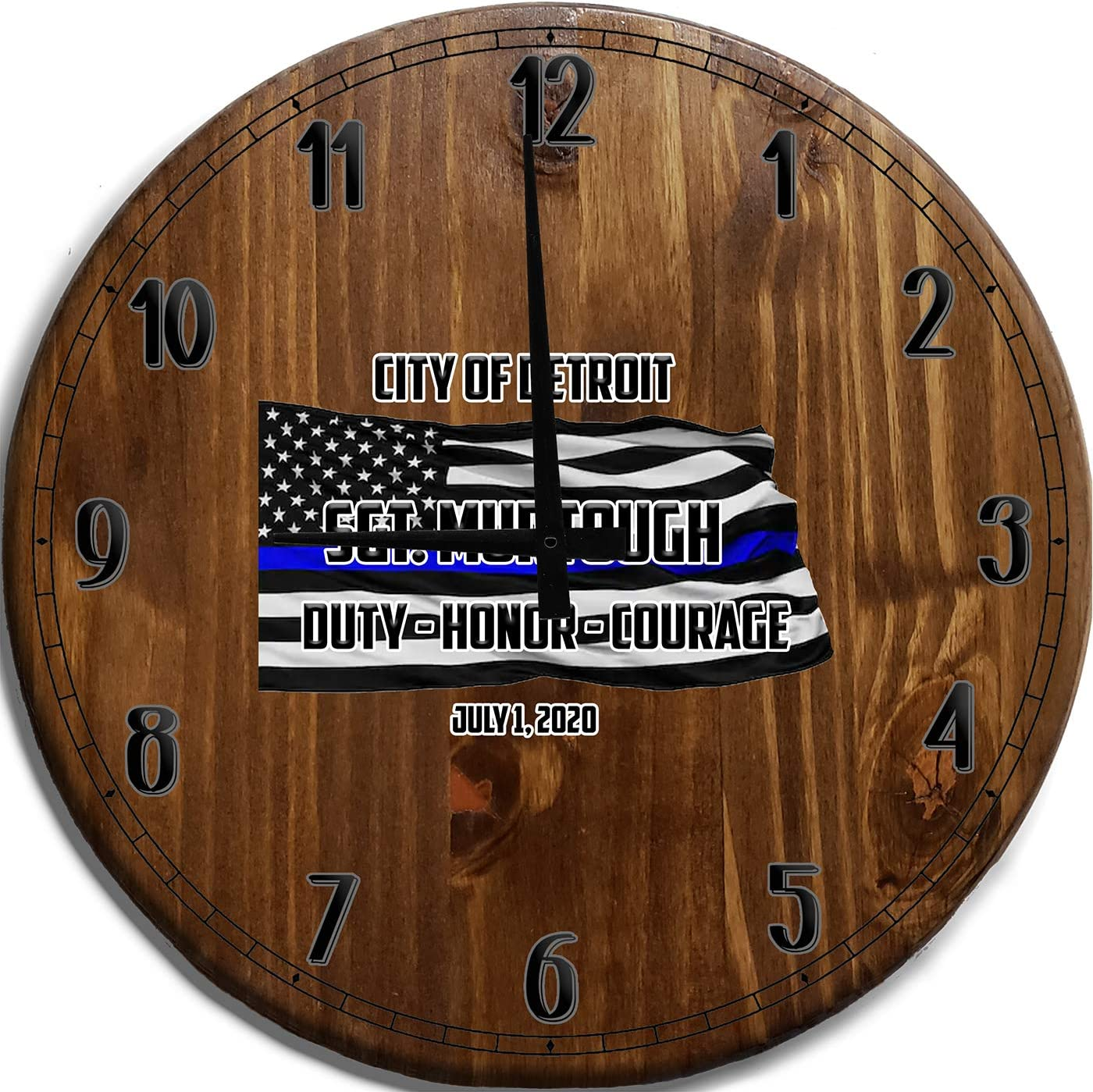 Wall Clock Large Police Department Thin Blue Line Flag Bar Sign Home Decor Brown 18 inch Wall Decor