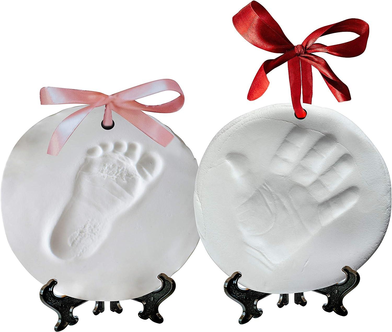 NOVARENA Ornament Keepsake Kit Clay Casting Kit 2 EASELS Boys /& Girls White Newborn Bundle 4 Ribbons /& Bonus Color Tubes Baby Handprint Kit and Footprint Kit