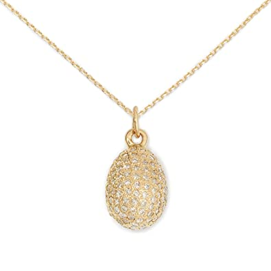 19cf81379f040e Amazon.com: Delicacies Egg Pave Diamond and 14K Gold Pendant ...