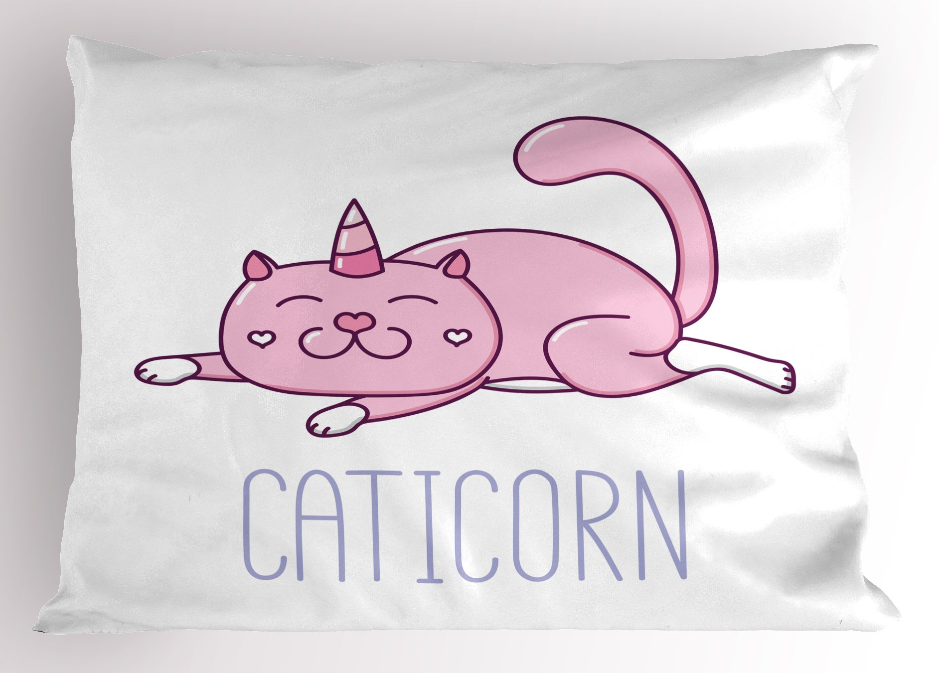 Ambesonne Unicorn Cat Pillow Sham, Pink Cat with a Horn and Funny Expression Lying Caticorn Cartoon Mascot, Decorative Standard Size Printed Pillowcase, 26 X 20 inches, Pink Lilac White
