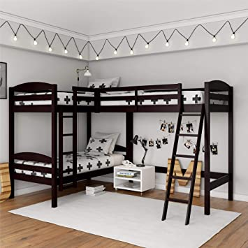 Amazon Com Dorel Living Clearwater Triple Espresso Bunk Beds Kitchen Dining