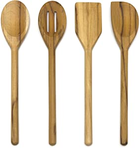 "Lipper International 726 Teak Wood Kitchen Tools for Cooking, 4-Piece Set, 11"" Long"
