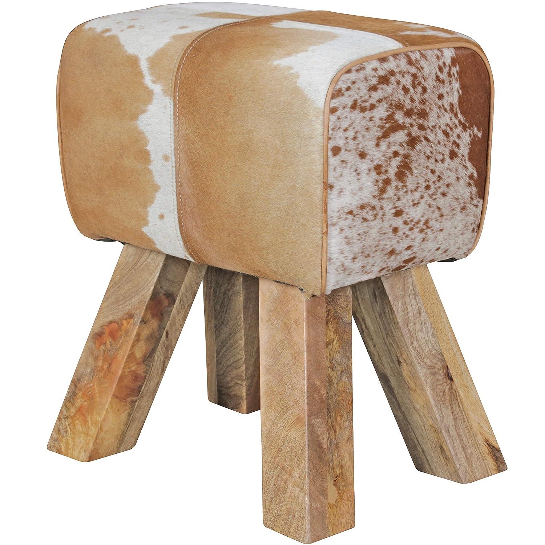 Wohnling Design Turnbock Sitzhocker Ziegenfell, braun weiß, 40 x 30 x 47 cm