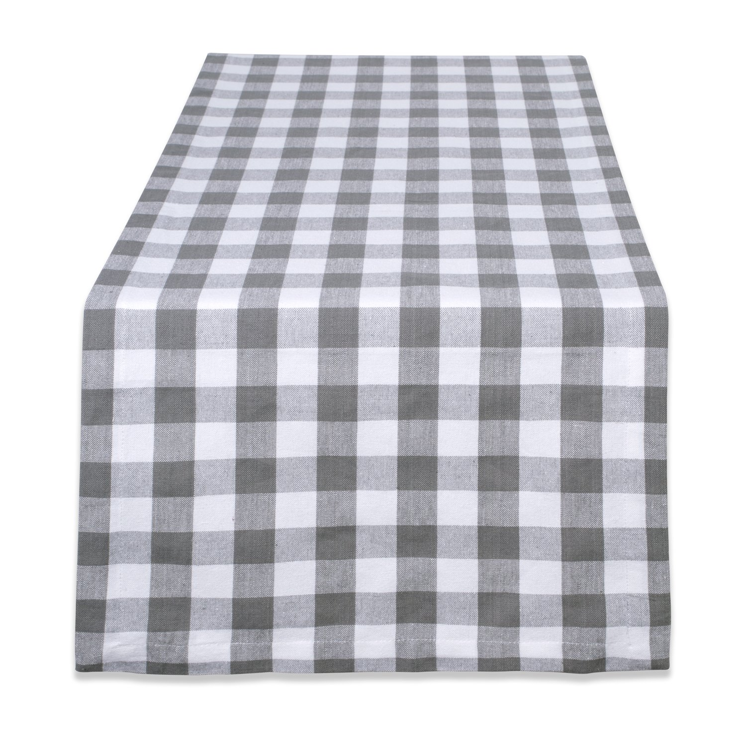 DII 100% Cotton, Machine Washable, Dinner, Everyday Use Table Runner, 14x72, Gray & White Check