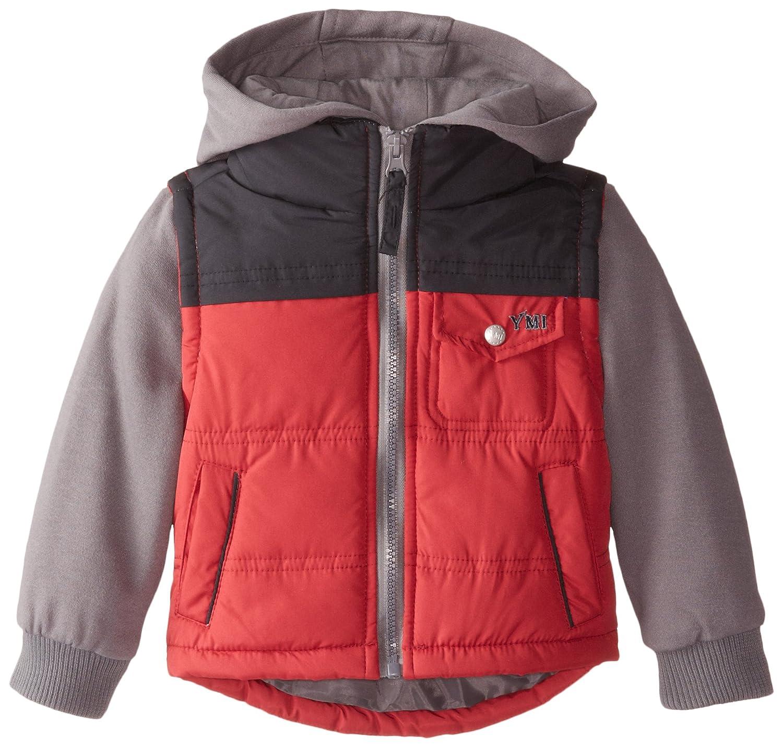 YMI Baby Boys Hooded Bubble Jacket with Fleece Lined Sleeves and Hood