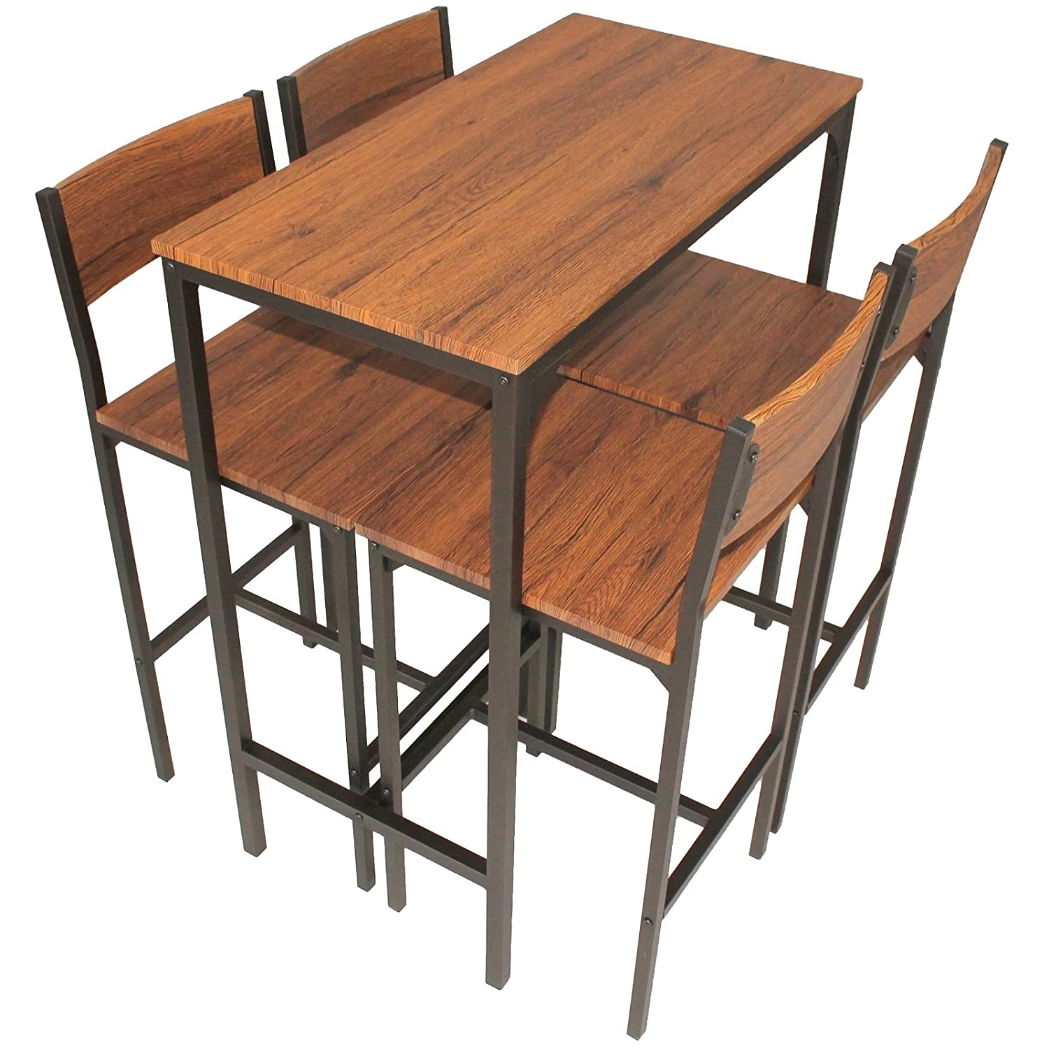 YELLOO Set Tisch Bar und 4 Hocker Design Braun Walnuss Pizzeria Mod ...