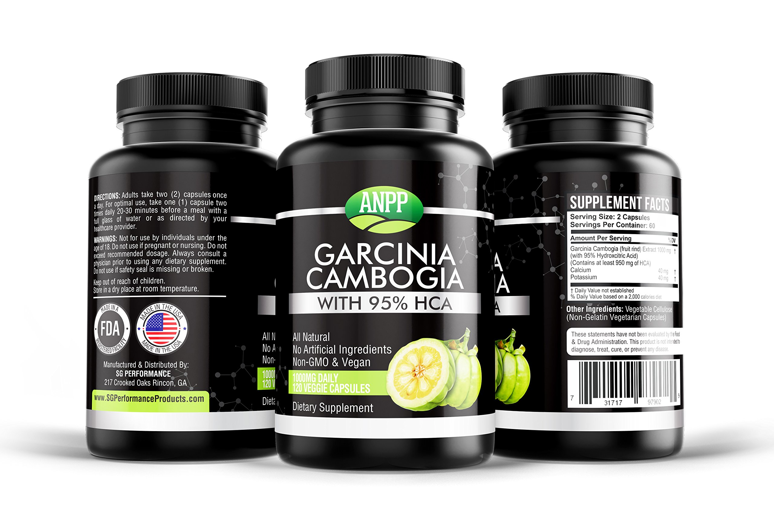 100% Pure Garcinia Cambrogia 95% HCA, 120 Caps, 2 Month Supply, Appetite Suppressant, for Men/Women, Easily Lose Weight, Keto Friendly, Organic, All Natural Weight Loss Pills