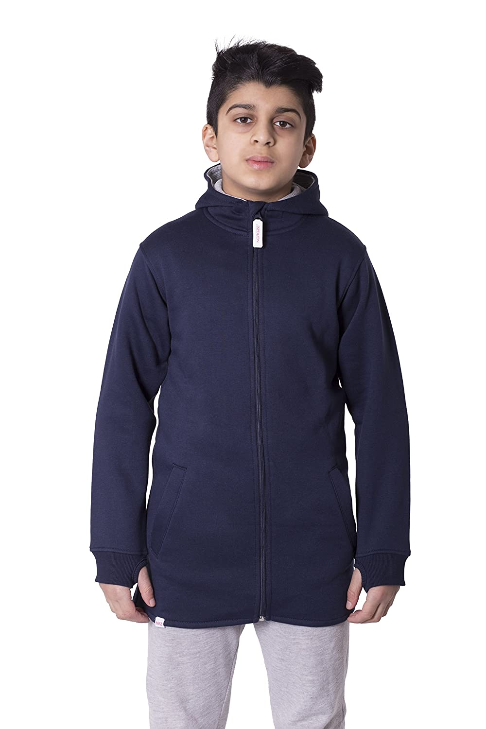 Noroze Girls Boys Unisex Plain High Low Long Hoodie