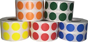 Color Coding Labels Teacher Office Supplies Round Circle Dots Five Color Bulk Pack 1/2 Inch 1,000 Per Color 5,000 Total Adhesive Stickers