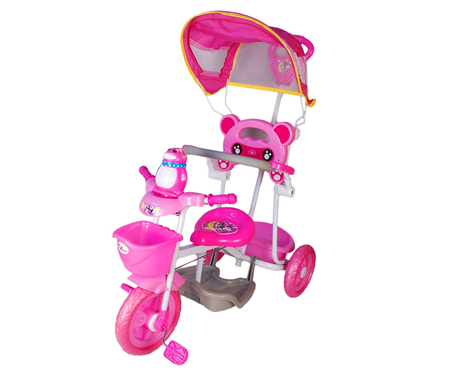 Toyhouse Easy to Steer Penguin Baby Tricycle with Canopy and Push Handle Steering System Pink Amazon.in Toys u0026 Games  sc 1 st  Amazon.in & Toyhouse Easy to Steer Penguin Baby Tricycle with Canopy and Push ...