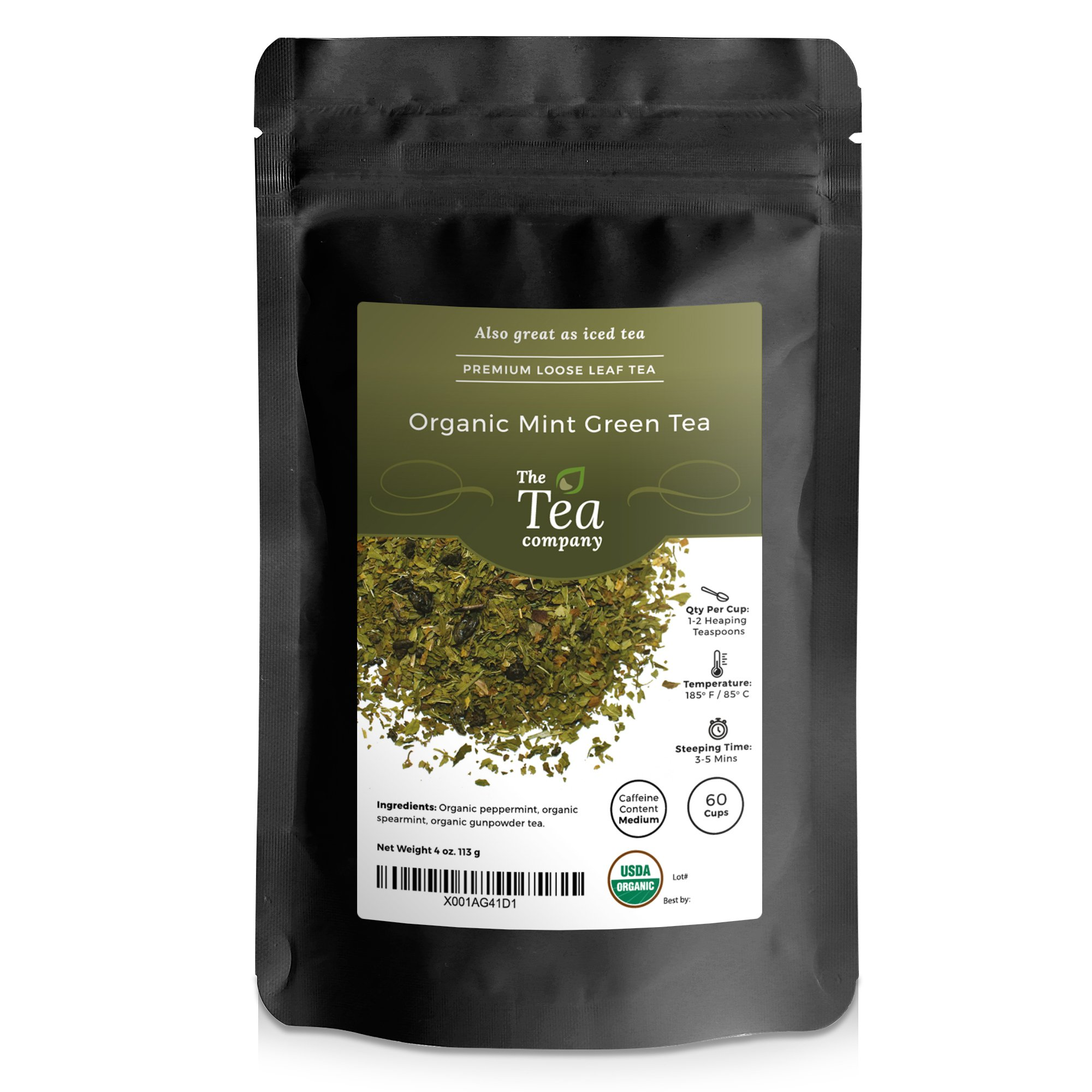 Organic Mint Green Tea Peppermint & Spearmint 60 cups Moroccan The Tea Company 4oz