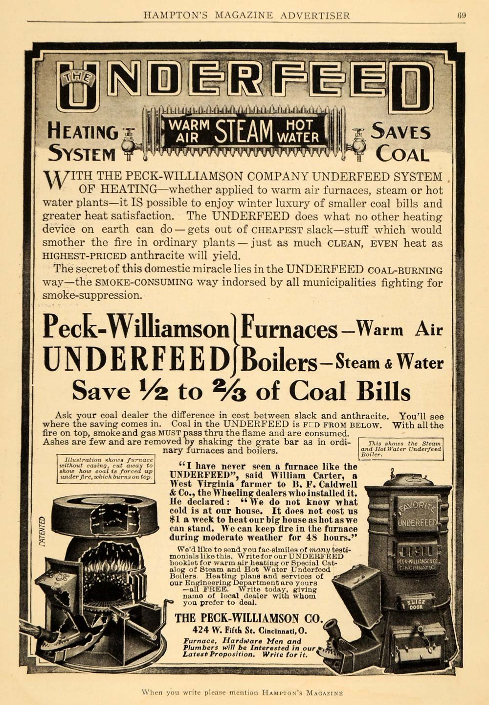 Amazon.com: 1909 Ad Peck-Williamson Underfeed Furnaces Boilers Heat ...