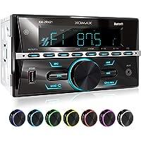 XOMAX XM-2R421 Autoradio mit Bluetooth I RDS I AM, FM I USB, AUX I 7 Beleuchtungsfarben einstellbar I 2 DIN