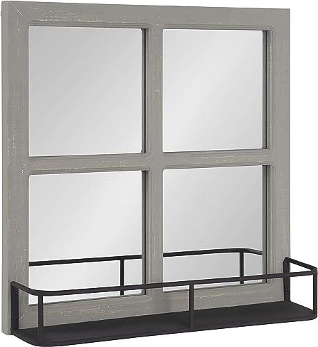 Kate and Laurel Jackson Wood Windowpane Mirror with Metal Shelf, 20×20, Gray