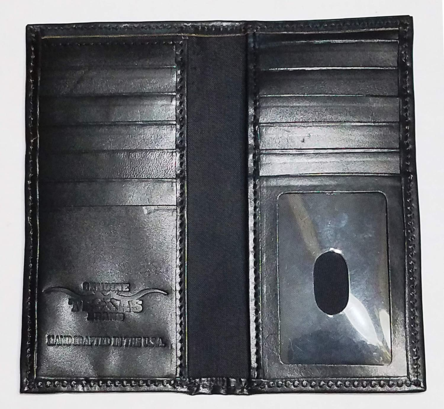 Custom Black EMT EMS Proudly MADE IN THE USA Cross of Life Basket Weave Long Leather Checkbook Wallet