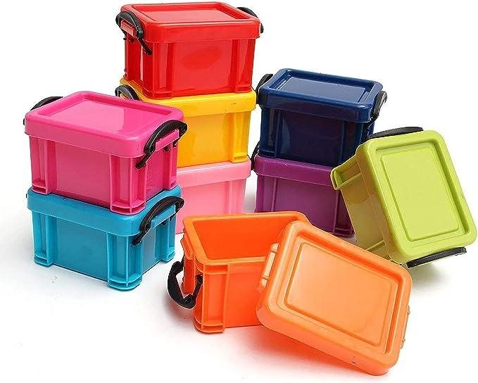 Pack de 9 Mini Cajas de Plástico Apilables para Almacenar Tapas con Cierre de Broche por Kurtzy Set de Cajas Pequeñas Multicolor - Organizador para Coche, Oficina y Cocina - Cajas Resistentes: