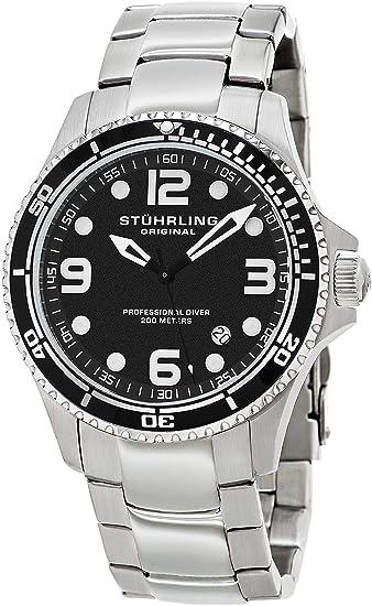 Stuhrling Original Specialty Grand Regatta Reloj de Buceo de Cuarzo Suizo Profesional de Acero Inoxidable con Fecha para Hombre: Amazon.es: Relojes
