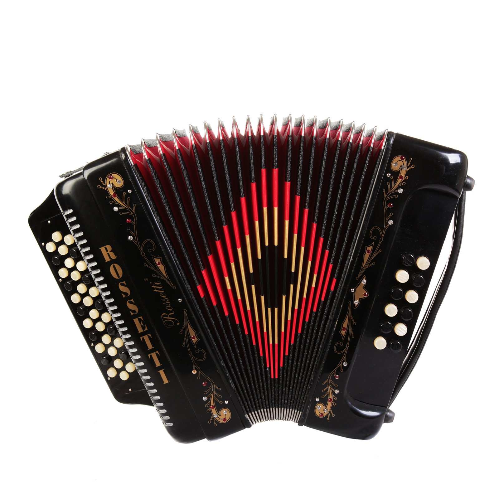 Rossetti 34 Button Accordion 12 Bass 3 Switches FBE Black