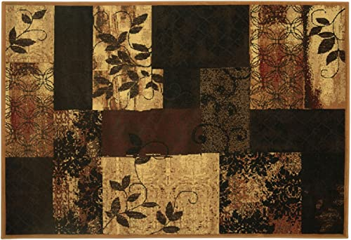 Heritage Area Rug, Stain Resistant, 114 x 91 , Floral Block
