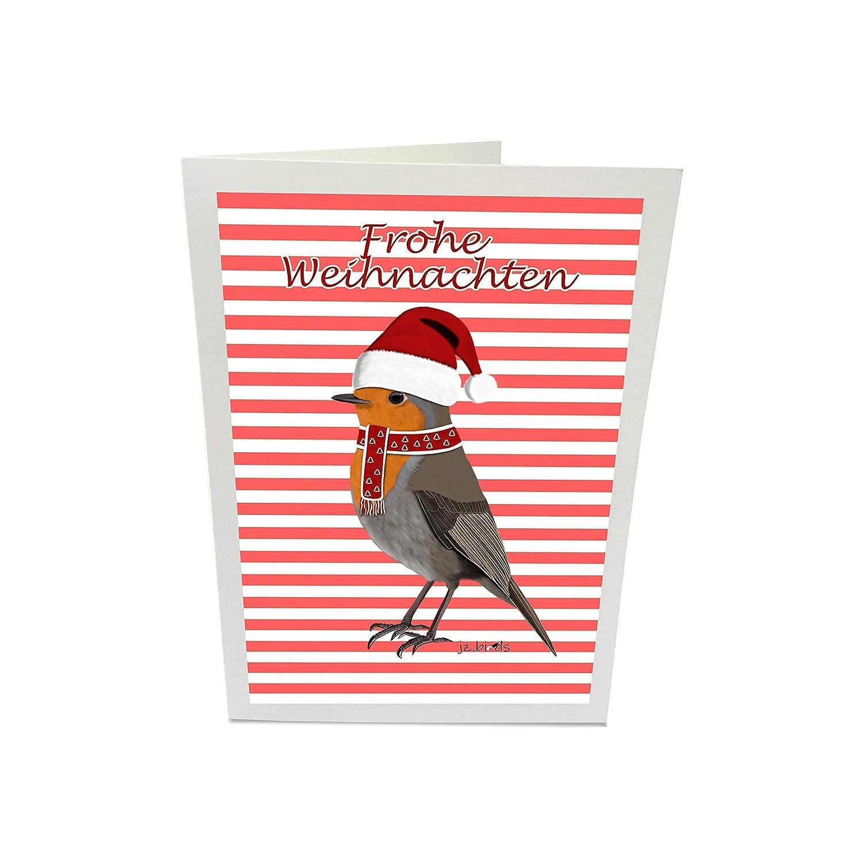 Weihnachtskarte mit Vogelmotiv Rotkehlchen Weihnachtsgr/ü/ße Inklusive Umschlag