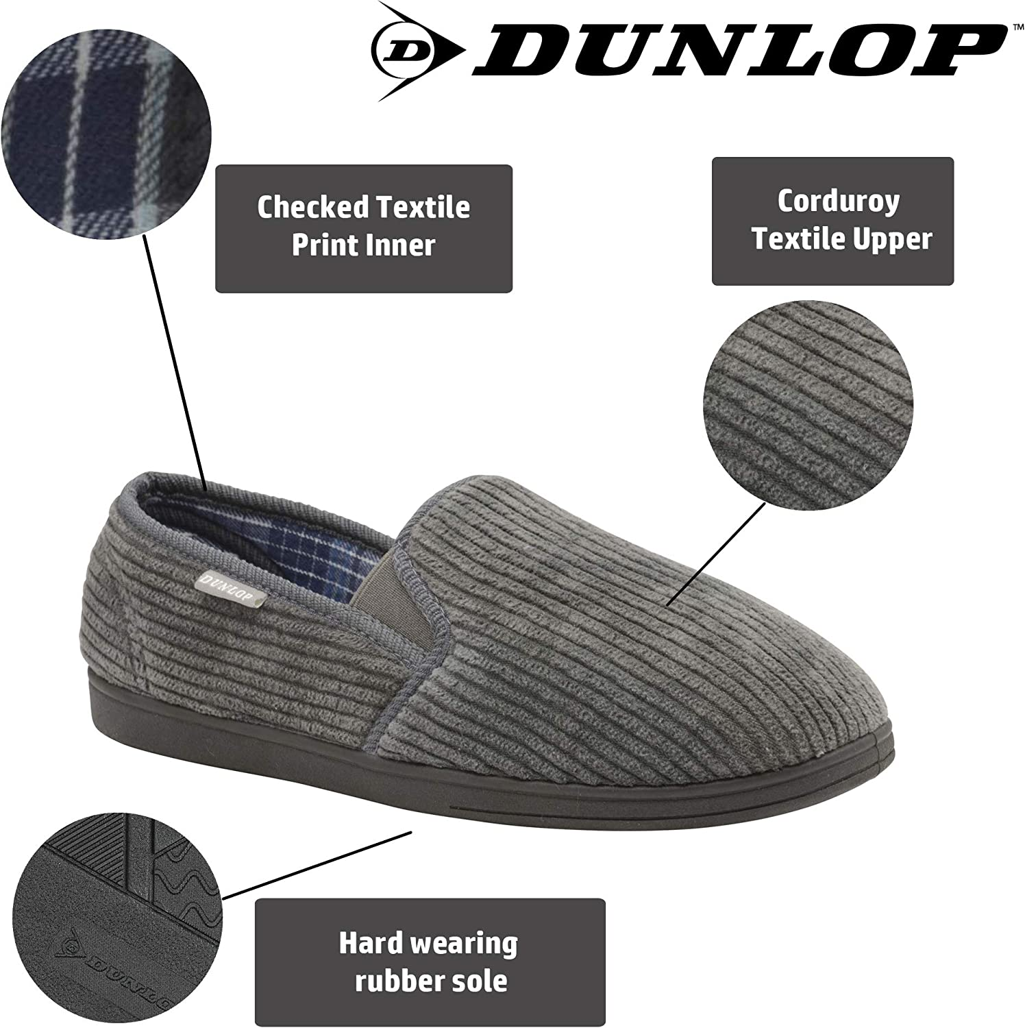 Dunlop Mens Slippers Slip On Comfy Twin Gusset Rubber Sole Washable Sizes 7-12