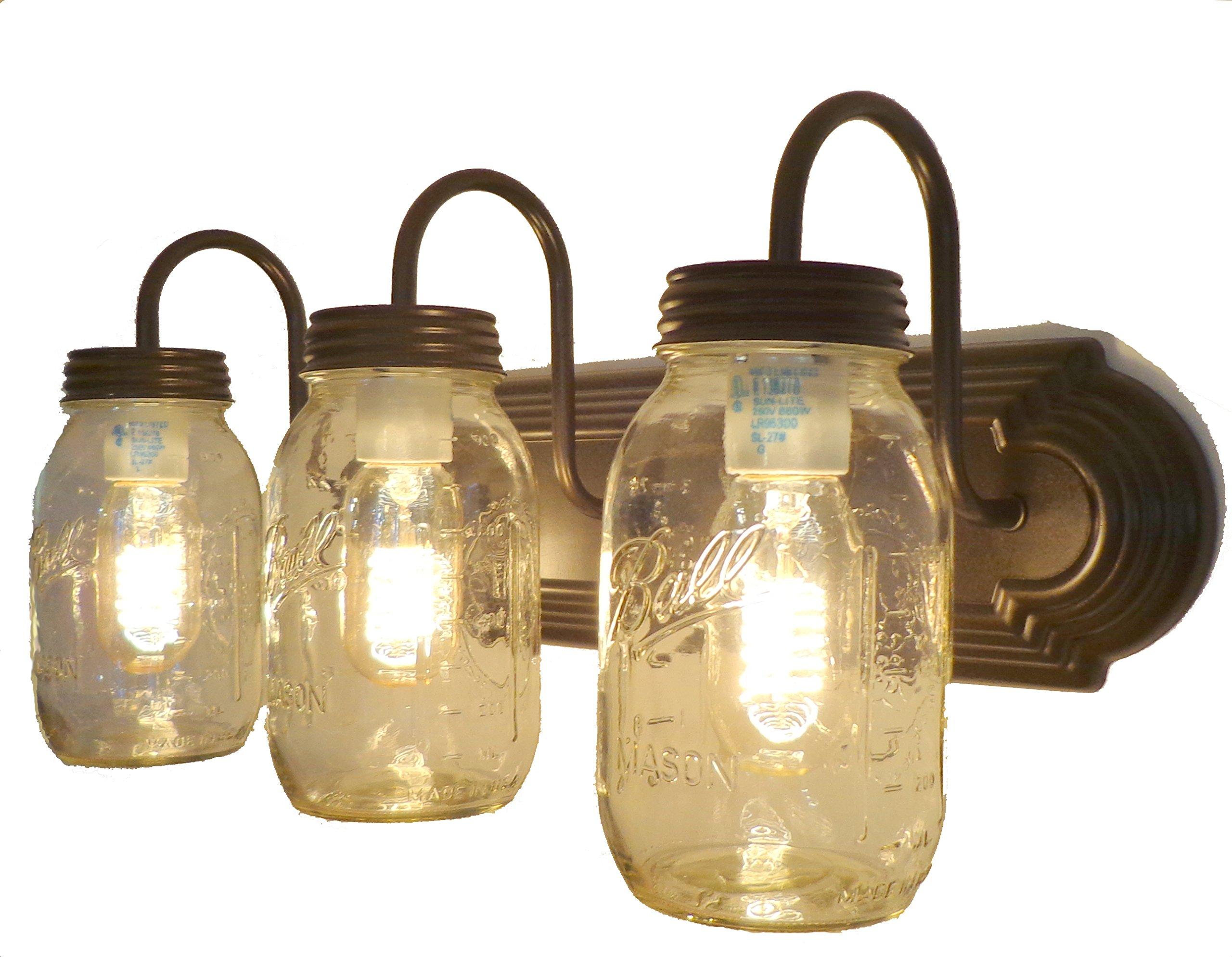 LAMP GOODS MASON JAR VANITY LIGHT NEW QUART TRIO