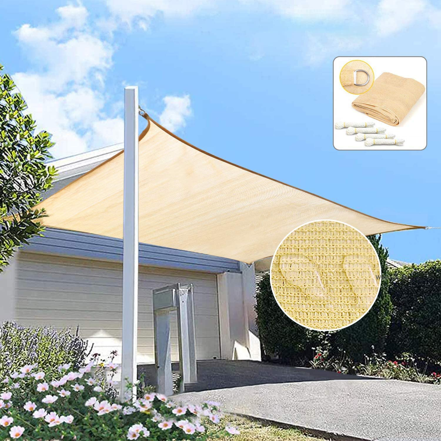 LadyRosian 16' x 16' Beige Sun Shade Sail, Square Windproof UV Block Sun Shade Canopy for Outdoor Patio, Garden, Backyard, Playground Outdoor Facility - Includes Rope