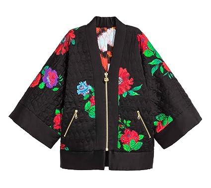 288c3f081 Kenzo X H&M Reversible Silk Kimono Jacket Size S Black and Roses ...