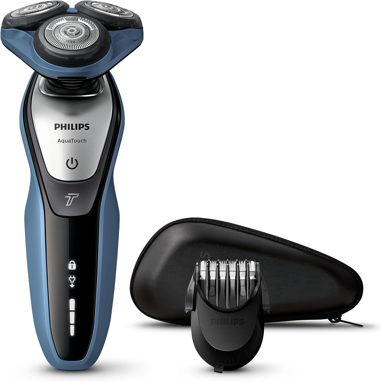 Philips AquaTouch S5620/41 Máquina de afeitar de rotación Recortadora Azul, Carbón vegetal - Afeitadora (Máquina de afeitar de rotación, Super Lift & Cut, Azul ...