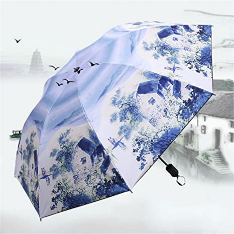 Dearlly golf-umbrellas Painting Art Womans Umbrella Rain Woman Sunshade Woman Parasol Folding Females Umbrella