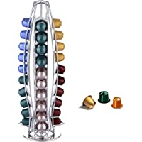 EXZACT EX-NP021-40 Coffee Capsule Holder, Compatible with Nespresso Capsules (40pcs) Rotating Pod Tower Rack