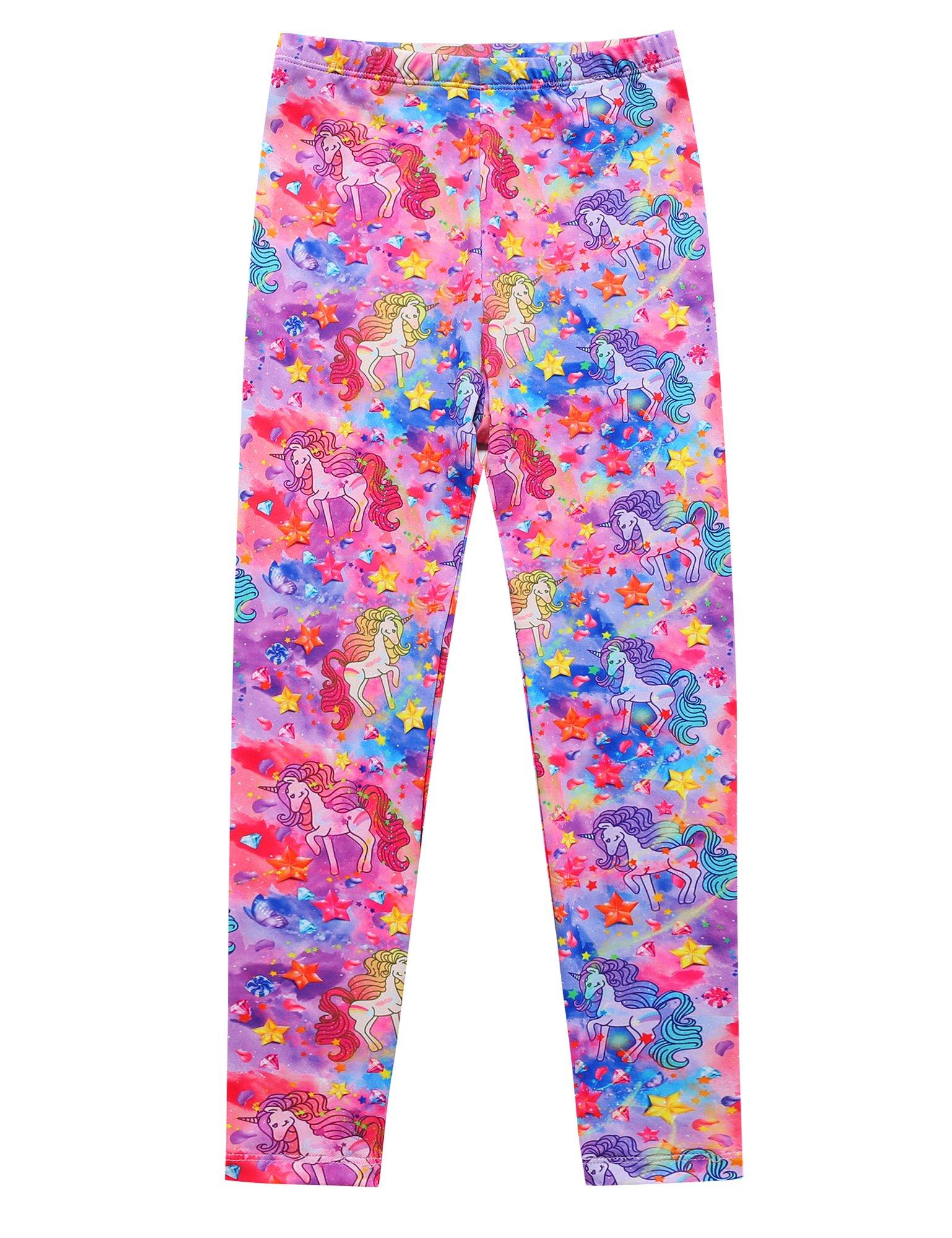 Jxstar Girls Pants Unicorn Printed Trousers Ankle Length Basic Leggings Unicorn Fantasy 130