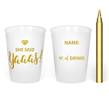 disposable bachelorette party cups with gold metallic marker bridal shower bachelorette