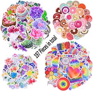 Ancefine 197 Pieces Wall Bottle Stickers,Rainbow Stickers,Cactus and Succulent Plant Stickers,Donut Stickers and Flower Stickers for Suitcase Phone Refrigerator Laptop Cup Furniture Walls Decoration