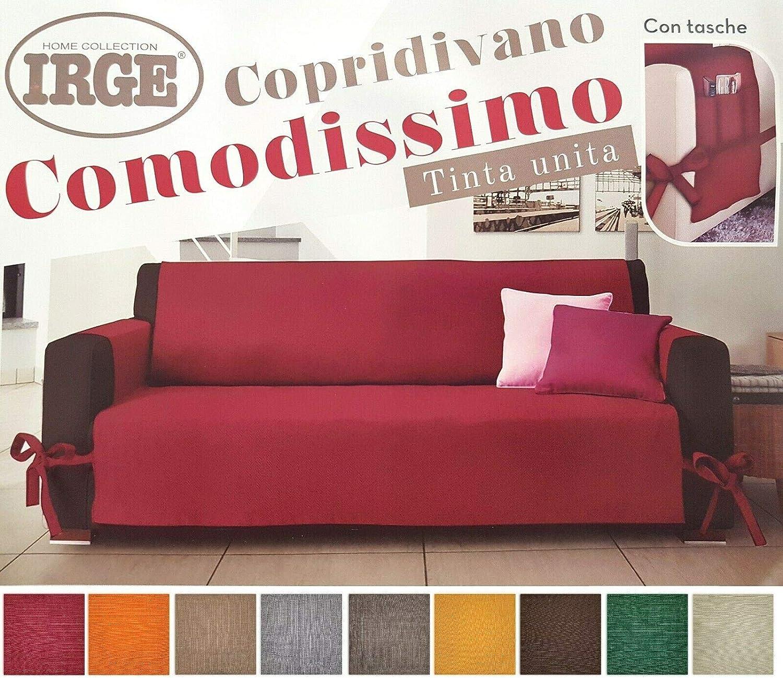 Beige, 2 POSTI DEMONA COPRIDIVANO Made in Italia IRGE in Tessuto CANAPONE con Laccetti SALVADIVANO IRGE Vari Colori Piu Tasca 2 3 POSTI
