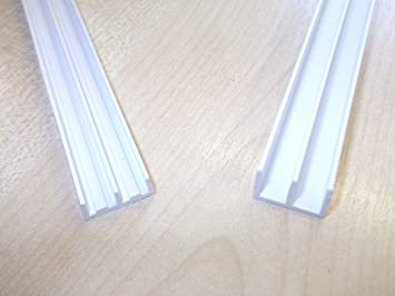 Innovo - Guías de Cristal para rieles de viario de 6,0 mm 250 mm de Largo, Parte Superior e Inferior de Color Blanco, 1 par de armarios: Amazon.es: Electrónica