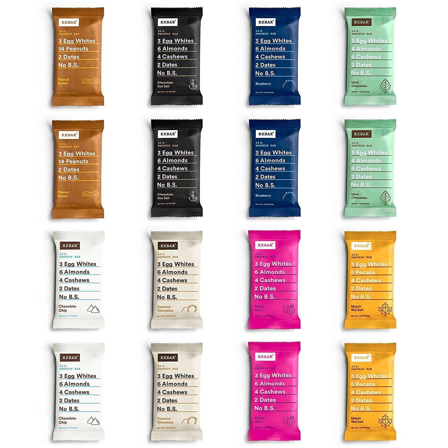 RxBar Real Food Protein Bars 8 Flavor Variety Pack, 2 Each, 16 Total Count by RXBAR