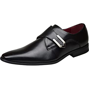 Red Tape Sutton Leather Buckle Mens Shoes Pointed Formal Casual Black Tan Size