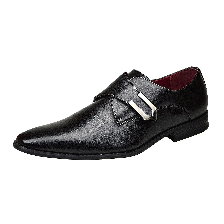 Zapatos de piel con hebilla de Robelli para hombre, estilo casual y formal, color marrón, tamaño 38,5, 40, 42, 42,5, 44 y 45, color Negro, talla 41 EU