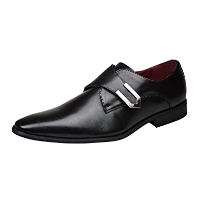 Robelli Mens New Casual Black Leather Smart Formal Buckle Shoes UK Size 6 7  8 9