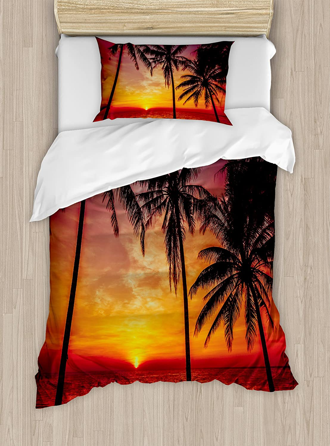 Tropical Decor Duvet Cover Set by Ambesonne, Sunset Tropical Beach Palm Trees Peaceful Ocean Evening View Resort, 2 Piece Bedding Set with 1 Pillow Sham, Twin / Twin XL Size