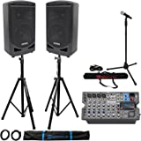"""Samson Expedition XP800 800w 8"""" PA DJ Speakers+8-ch Mixer+Stands+Mic+Mic Stand"""