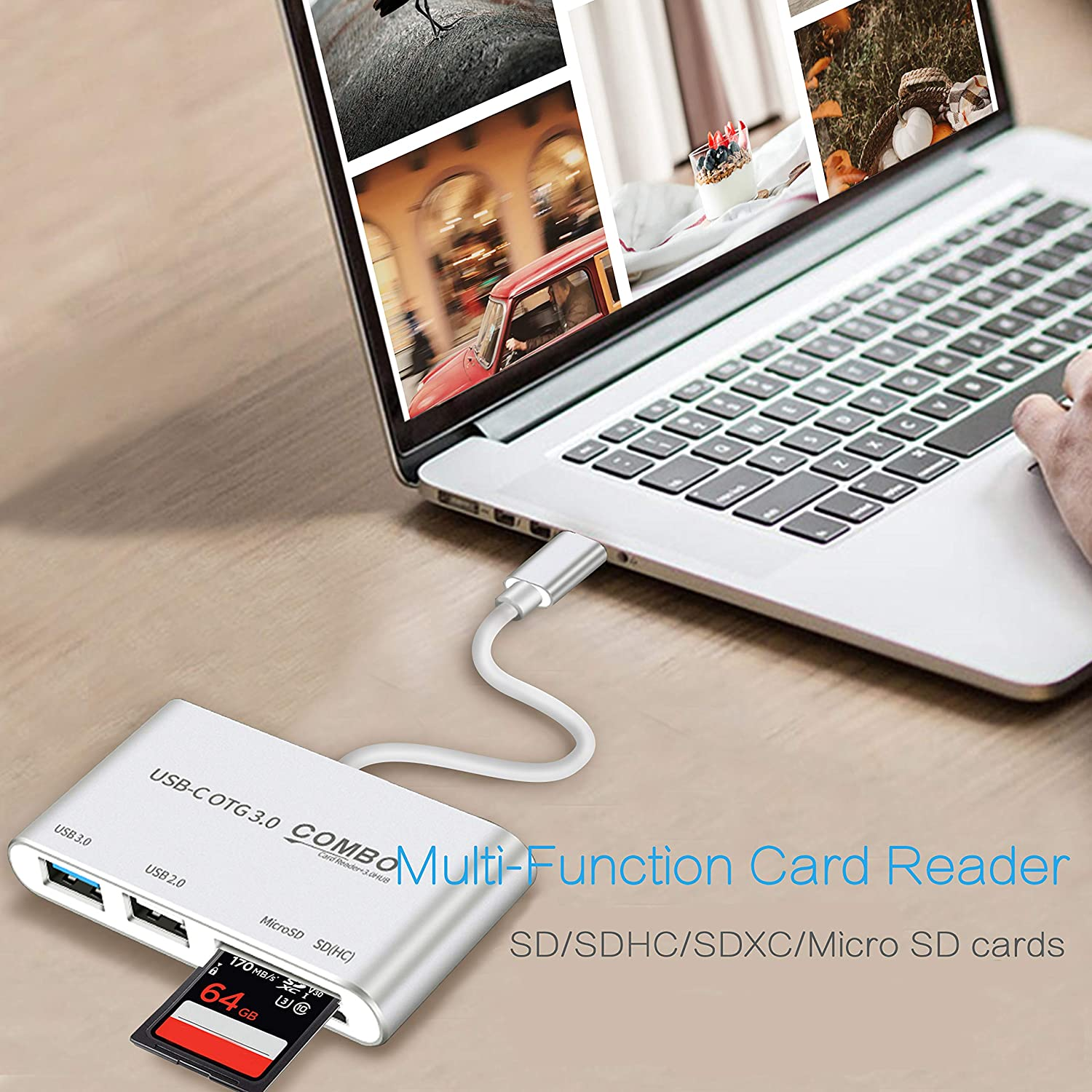USB 2.0//3.0 Port and Micro USB Charging Port Compatible with Surface go USB Card Reader SD 5 in 1 OTG USB C Card Reader by Gecen Macbook Air//pro USB C Adapter Card Reader with SD//TF Card Slots