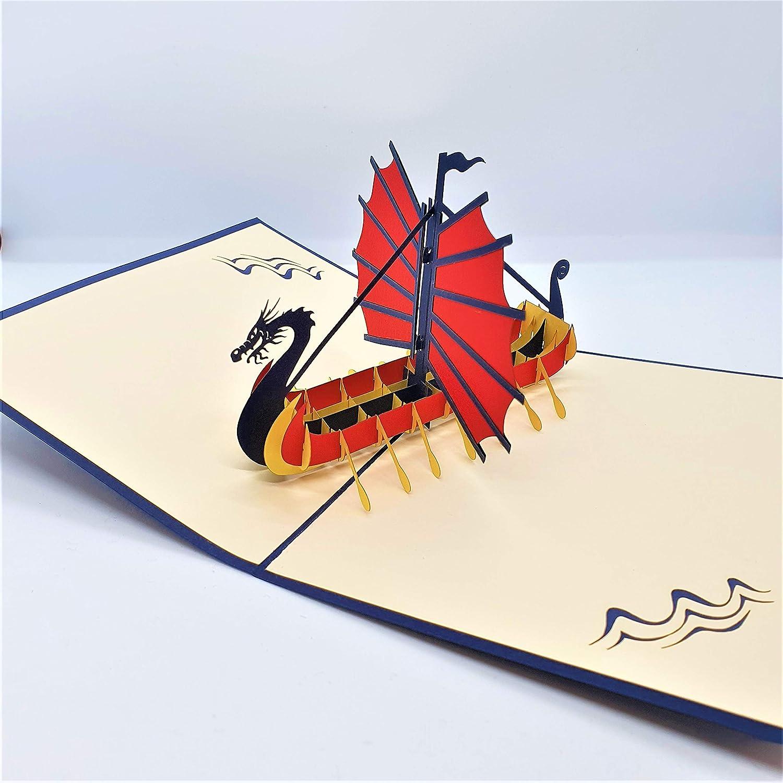 Handmade 3D popup card scandinavia viking dragon boat birthday wedding anniversary Valentines fathers day thank you leaving moving new job