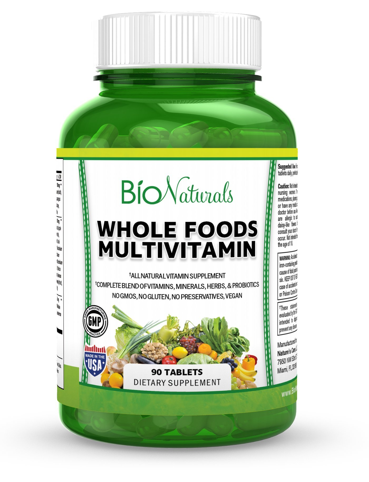Whole Foods Multivitamin For Men & Women – 100% Natural & Vegan With Vitamins A B C D E, Minerals, Herbs, Omega 3, Probiotics, Organic Vegetable & Fruit Extracts – No GMOs or Gluten - 90 Tablets