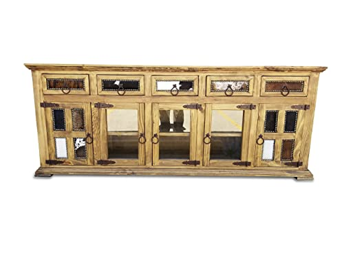 Hi End Rustic Medieval Hand Scrape TV Stand Buffet 80 inch, Cowhide Inlay