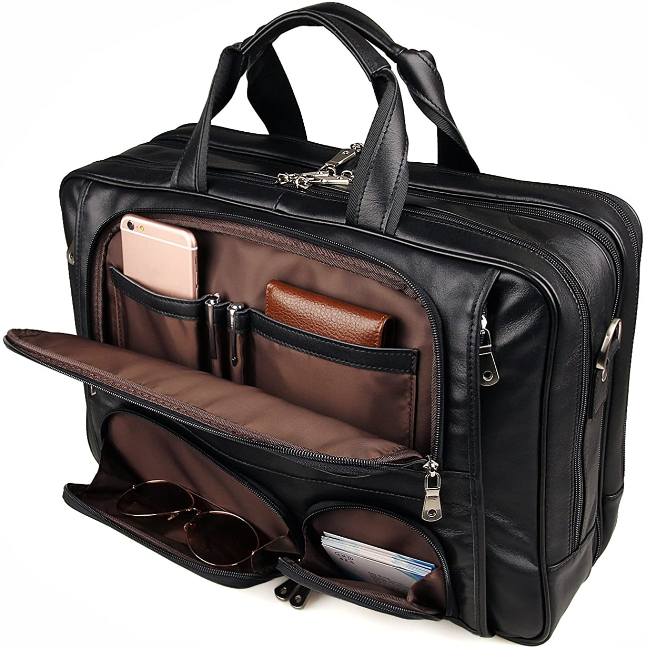 Image of Augus Business Travel Briefcase Genuine Leather Duffel Bags for Men Laptop Bag fits 15.6 inches Laptop Briefcases